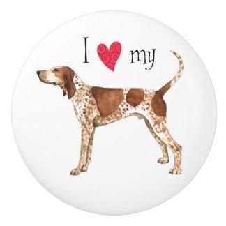 I Liebe mein amerikanisches EnglischCoonhound Keramikknauf