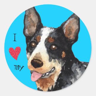I Liebe mein australischer Vieh-Hund Runder Aufkleber