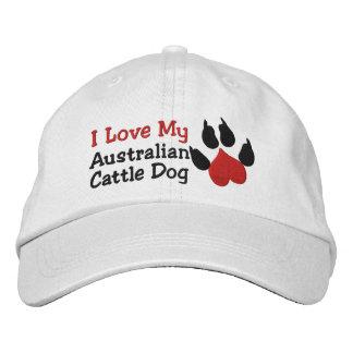 I Liebe mein australischer Vieh-Hundetatzen-Druck Bestickte Kappe