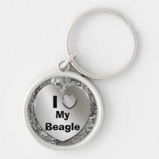 I Liebe mein Beagle-Herz Keychain Silberfarbener Runder Schlüsselanhänger