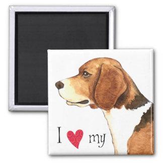 I Liebe mein Beagle Quadratischer Magnet