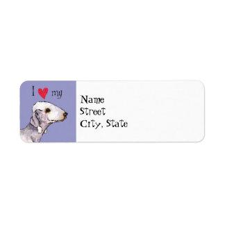 I Liebe mein Bedlinton Terrier Rücksendeetiketten