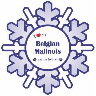 I Liebe mein belgischer Malinois (weiblicher Hund) Fotoskulptur Ornament