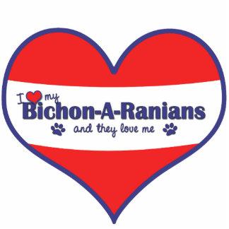 I Liebe mein Bichon-A-Ranians (mehrfache Hunde) Fotoskulptur Ornament