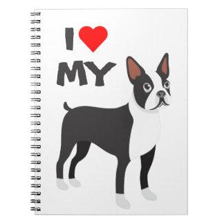 I Liebe mein Boston-Terrier-Notizbuch Spiral Notizblock