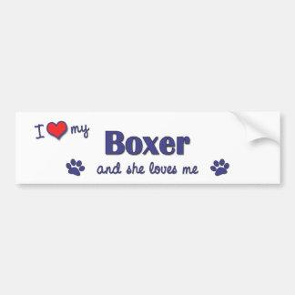 I Liebe mein Boxer (weiblicher Hund) Autoaufkleber