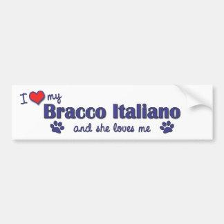 I Liebe mein Bracco Italiano (weiblicher Hund) Autoaufkleber