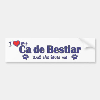 I Liebe mein Ca de Bestiar (weiblicher Hund) Autoaufkleber