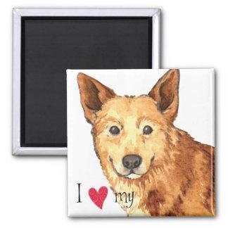 I Liebe mein Canaan Hund Quadratischer Magnet