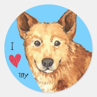 I Liebe mein Canaan Hund Runder Aufkleber