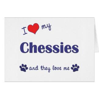 I Liebe mein Chessies (mehrfache Hunde) Karte