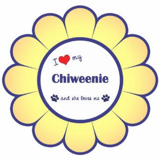I Liebe mein Chiweenie (weiblicher Hund) Fotoskulptur