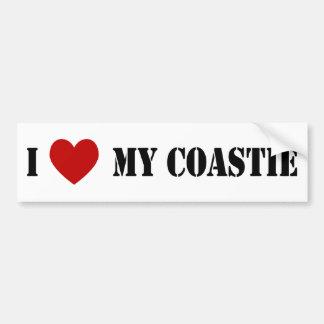 I Liebe mein Coastie Autoaufkleber