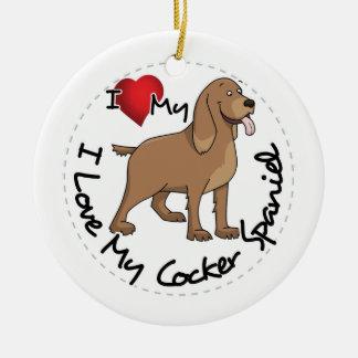 I Liebe mein Cockerspaniel-Hund Rundes Keramik Ornament