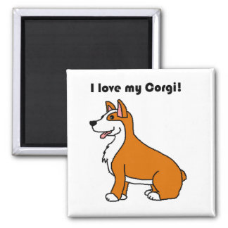 I Liebe mein Corgi TAN und weißer Cartoon Quadratischer Magnet
