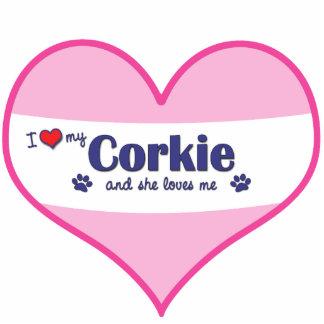 I Liebe mein Corkie (weiblicher Hund) Photostatuen