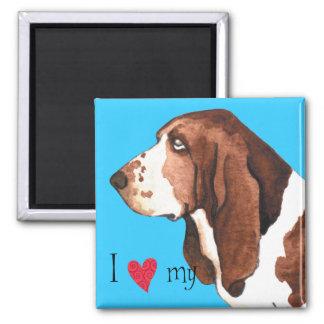 I Liebe mein Dachshund-Jagdhund Quadratischer Magnet