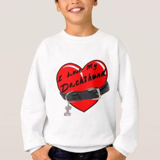 I Liebe mein Dackel-Herz mit Hundehalsband Sweatshirt
