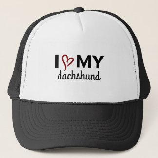 I Liebe mein Dackel-Hut (Schwarzes) Truckerkappe