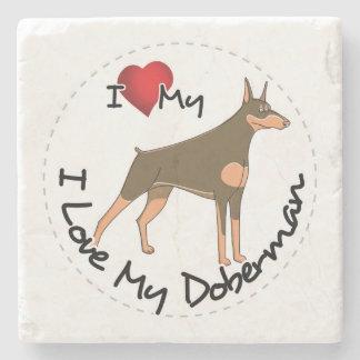 I Liebe mein Dobermann-Hund Steinuntersetzer