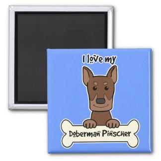 I Liebe mein Dobermann Quadratischer Magnet
