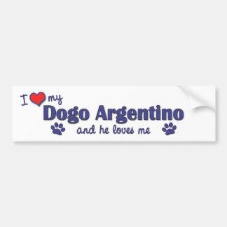 I Liebe mein Dogo Argentino (männlicher Hund) Autoaufkleber