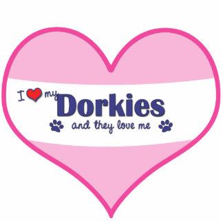 I Liebe mein Dorkies (mehrfache Hunde) Photo Statue