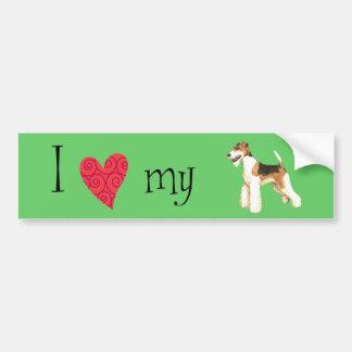 I Liebe mein Drahtfox-Terrier Autoaufkleber