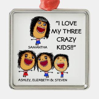 I Liebe mein drei verrücktes Quadratisches Silberfarbenes Ornament