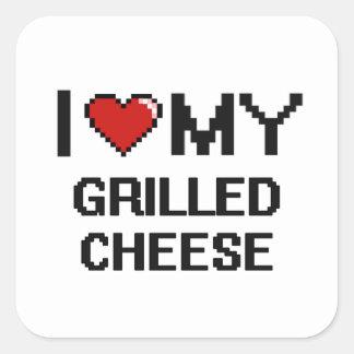I Liebe mein gegrillter Käse-Digital-Entwurf Quadratischer Aufkleber