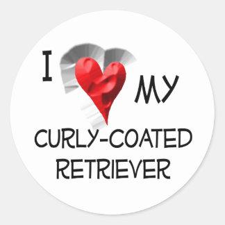 I Liebe mein Gelockt-Überzogener Retriever Stickers
