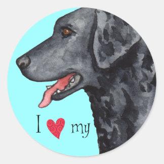 I Liebe mein Gelockt-Überzogener Retriever Runde Sticker