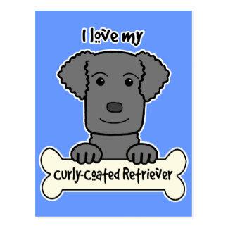 I Liebe mein Gelockt-Überzogener Retriever Postkarte