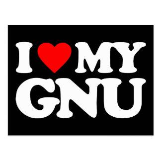 I LIEBE MEIN GNU POSTKARTE