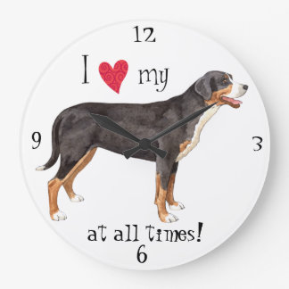 I Liebe mein größerer Schweizer Gebirgshund Große Wanduhr
