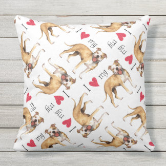 I Liebe mein Gruben-Stier-Terrier Kissen