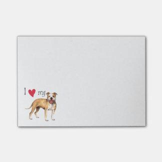 I Liebe mein Gruben-Stier-Terrier Post-it Klebezettel