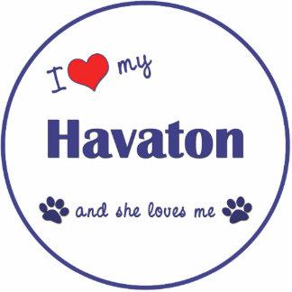 I Liebe mein Havaton (weiblicher Hund) Fotoskulptur Ornament
