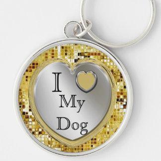 I Liebe mein Hund oder? Herz Keychain Silberfarbener Runder Schlüsselanhänger