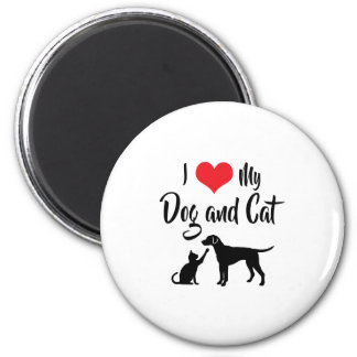 I Liebe mein Hund und Katze Runder Magnet 5,1 Cm