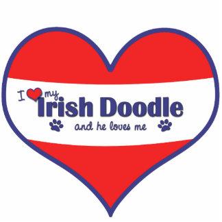 I Liebe mein irisches Gekritzel (männlicher Hund) Acryl Ausschnitte