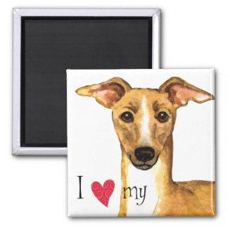 I Liebe mein italienischer Windhund Quadratischer Magnet