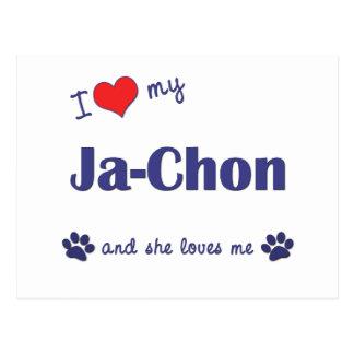 I Liebe mein Ja-Chon (weiblicher Hund) Postkarte