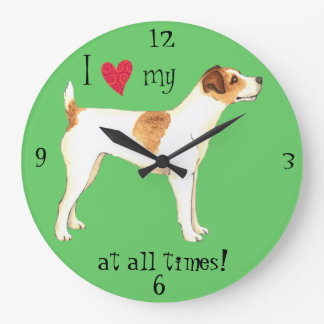 I Liebe mein Jack-Russell-Terrier Große Wanduhr