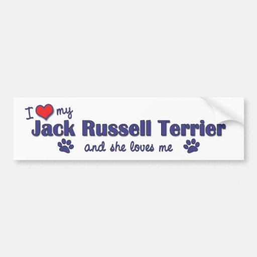 I Liebe mein Jack-Russell-Terrier (weiblicher Hund Auto Sticker