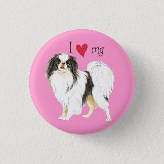 I Liebe mein japanischer Chin Runder Button 3,2 Cm