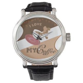 I Liebe mein Kaffee-Retro Restaurant-Java-Spritzen Armbanduhr