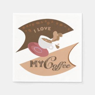 I Liebe mein Kaffee-Retro Restaurant-Java-Spritzen Serviette