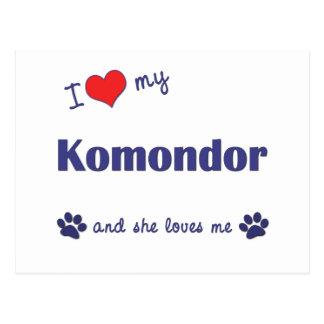 I Liebe mein Komondor (weiblicher Hund) Postkarte