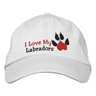 I Liebe mein Labradors Hundetatzen-Druck Bestickte Baseballkappe